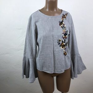 ZARA Embroidered GRAY Cotton BELL Sleeve TUNIC Top